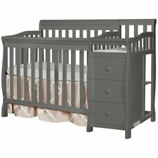 Dream On Me Jayden 4-in-1 Convertible Mini Crib and Changer in Storm Grey