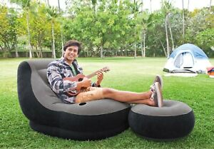 Blow Up Chair w Footrest Outdoor/Indoor Seat Couch Bed Sofa Mattress Inflatable
