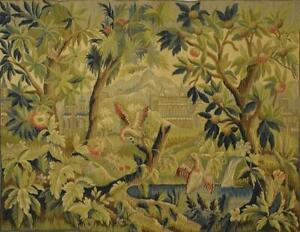 Stunning Vintage French Woven Tapestry Wall Hanging, Medieval Chateau Scene