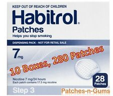 Habitrol Step 3 Nicotine Transdermal Patches 7mg . 10 Boxes of 28 Pieces each