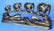 More details for vintage 4 carved elephants ebony bridge sri lanka 32cm some damage *[21022]