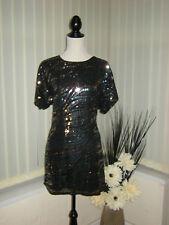 14 Kaleidoscope rétro noir + gris + bronze Sequin Mini Dress Party Cruise NEUF