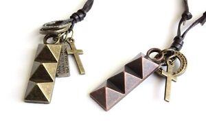 NEW Leather Men's Metal Pendant Surfer Necklace Choker Adjustable Brass Copper