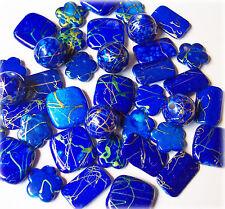 30 edle acrylfancy Perlen blau mit Goldfäden 12 - 18 mm Blumen Quadrate Kugeln