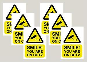6 Smile you're on CCTV camera window stickers signs decals 50mm x 70mm Free P&P