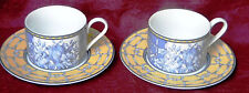 Coventry Palace Garden Fine Porcelain Blue Yellow Cup & Saucer - Set of 2