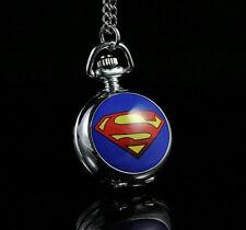 DC SUPERMAN Fashion Women Ladies Child Gril Boy Pocket Watch Necklace