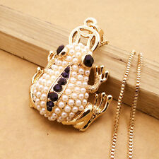 Gold-plated Mosaic crystal frog chain Fashion charm Pendants necklace DL481