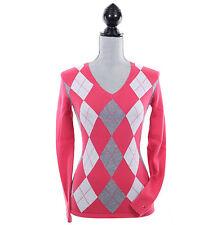 Tommy Hilfiger Women Argyle Long Sleeve Pullover V-Neck Sweater - $0 Free Ship
