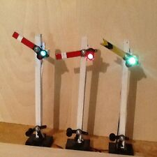 THREE SEMAPHORE SIGNALS LED LIGHTS .FOR GARDEN RAILWAY G SCALE GAUGE