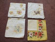 Ladies Handkerchief Set 4 Floral Prints Yellow Orange Gold Pink Nice