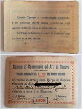 Genova Camera di Commercio ed Arti tessera ingresso nella Borsa 1908