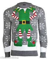Noroze Mens Novelty Elf Joker Knitted Christmas Retro Sweater Jumper Pulover Top