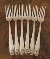 IS Daffodil Set 6 Dinner Forks 1847 Rogers Silverplate Vintage Flatware Lot B