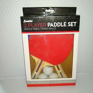 Franklin 2 PLAYER PADDLE SET Table Tennis Ping Pong NEW with 2 Paddles 3 Balls