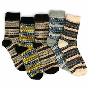 5 Pairs Men's Wool Mixture Angora Cashmere Warm Soft Thick Casual Dress Socks