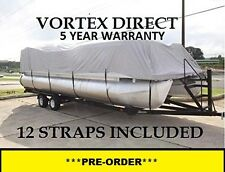 NEW GREY VORTEX 23 - 24  FT ULTRA 5 YEAR CANVAS COVER FOR PONTOON/DECK BOAT