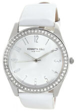 Kenneth Cole Women's Silver Dial White Patent Leather Strap Watch 10031703 37mm