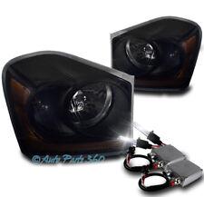 04-05 DODGE DURANGO CRYSTAL REPLACEMENT HEADLIGHTS LAMP BLACK/SMOKE W/50W 6K HID