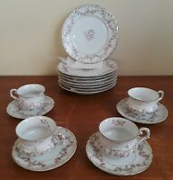 Vintage C.T. Germany Porcelain Rose-16 Piece Dessert Plates, Tea Cups & Saucers
