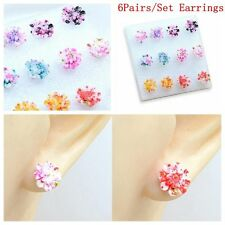 6Pairs/Set Jewelry Colorful Flower Daisy Earring Set Resin Ear Stud