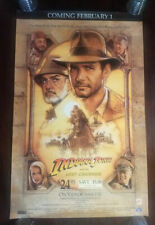 Indiana Jones And The Last Crusade Video Store Vhs Movie Poster Rolled W/ Date