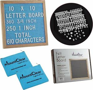 "10"" X 10"" Felt Letter Board with 360 Changeable White Letters – Two Zippered..."