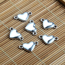20PC Silver Color Love Heart Connector Charm Beads DIY Jewelry Findings Craft