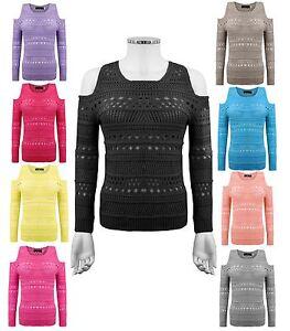 Ladies Womens Knitted Jumper Shoulder Cutout Long Sleeves Holey Knit Top Swaeter