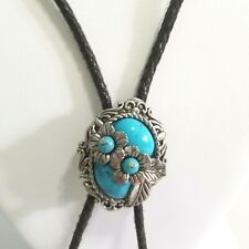 VINTAGE FAUX TURQUOISE BOLO TIE FLORAL PATTERN SOUTHWESTERN STYLING