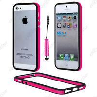 Housse Coque Etui Bumper Rose / Noir Apple iPhone SE 5S 5 + Mini Stylet