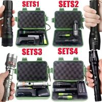 50000LM LED Tactical Zoomable T6 LED Flashlight Lamp Torch+18650+Charger+Case