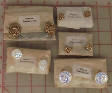 60 vintage Czech glass shank buttons flower design gold white AB pressed