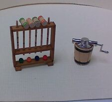 Dollhouse Mini1:12 scale old fashion garden game Croquet set & Ice Cream Maker