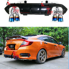 New Carbon Fiber Dual-Outlet End tip Exhaust Bumper Diffuser for Honda Civic 16+