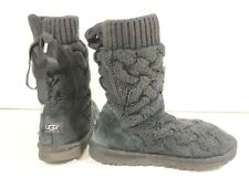 UGG AUSTRALIA Women's ISLA CABLE KNIT  WEAVED LACE BACK BLACK BOOTS SZ 9