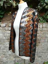 TRUE VTG 70S 1970'S ZIG ZAG Biba-esque Bronze silver SEQUIN TROPHY COAT JACKET M