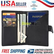 RFID Blocking Genuine Leather 9 Slot Passport Holder Travel Wallet Card Cover US