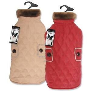 Dog Coat Jacket Zack & Zoey Derby Quilted Pet Coats Microsuede Red Tan Almond