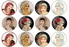 24 Art Deco Wafer Discs *Fun & Fab* Edible Cupcake Toppers