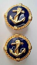 Naval Anchor On Blue Enamel Goldtone Circle Clip On Earrings Sailing Avon