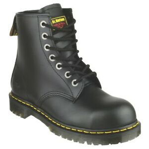 DR MARTENS INDUSTRIAL BLACK BOOTS 6, STEEL TOE CAP SAFETY WORK LEATHER NEW doc