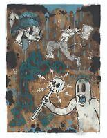 THE CARTOON CAT BLUE LTD edition silkscreen print By Frank Forte Pop Surrealism