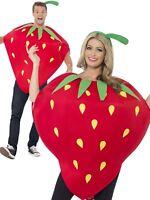 Adult Strawberry Costume Food Summer Fruit Red Fancy Dress Costume Ladies Mens