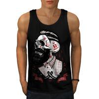 Wellcoda Skull Hippie Beard Mens Tank Top, Movement Active Sports Shirt