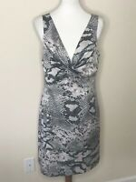 Boston Proper Size 12 Gray Black Pink Animal Print Sleeveless Dress V-Neck