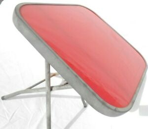 """Durahouse 16"""" Square Tempered Red Glass Metal Portable Folding Table NICE!"""