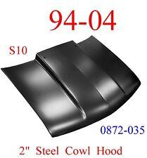 "94 04 Chevy S10 2"" Cowl Hood Steel Bolt On W/ Latch, KeyPart 0872-035"