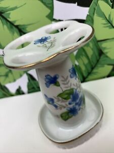 """Vintage Floral Delphinium Ceramic Toothbrush Holder Made in Japan 3.5"""" Tall 60s?"""