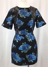 Topshop Blue and Black floral Print Mini short sleeved Dress UK SIZE 8 RRP £80